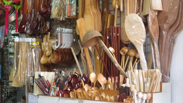 Shanghai Street - shop with wooden kitchen utensils
