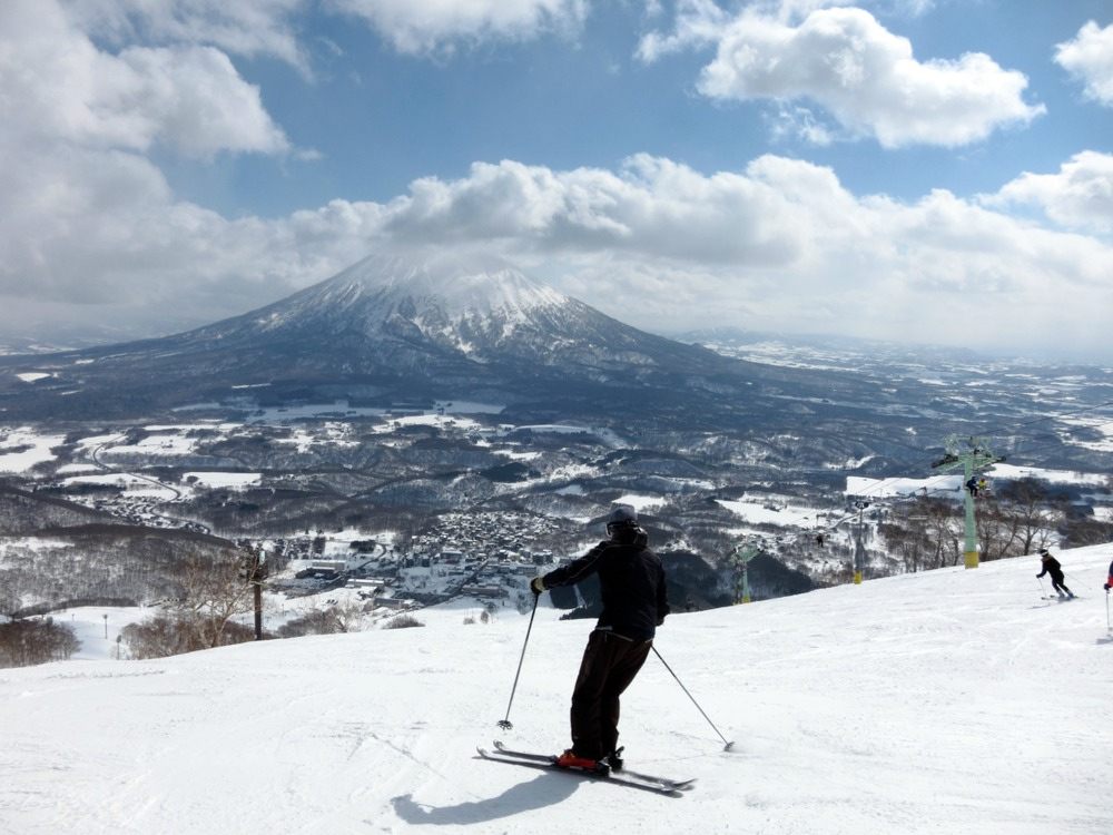 Skier on the slopes in Niseko