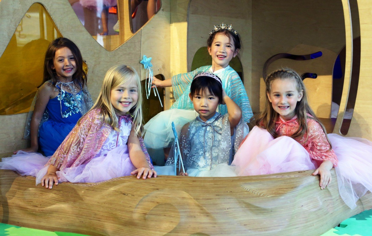 little girls dressed as princesses