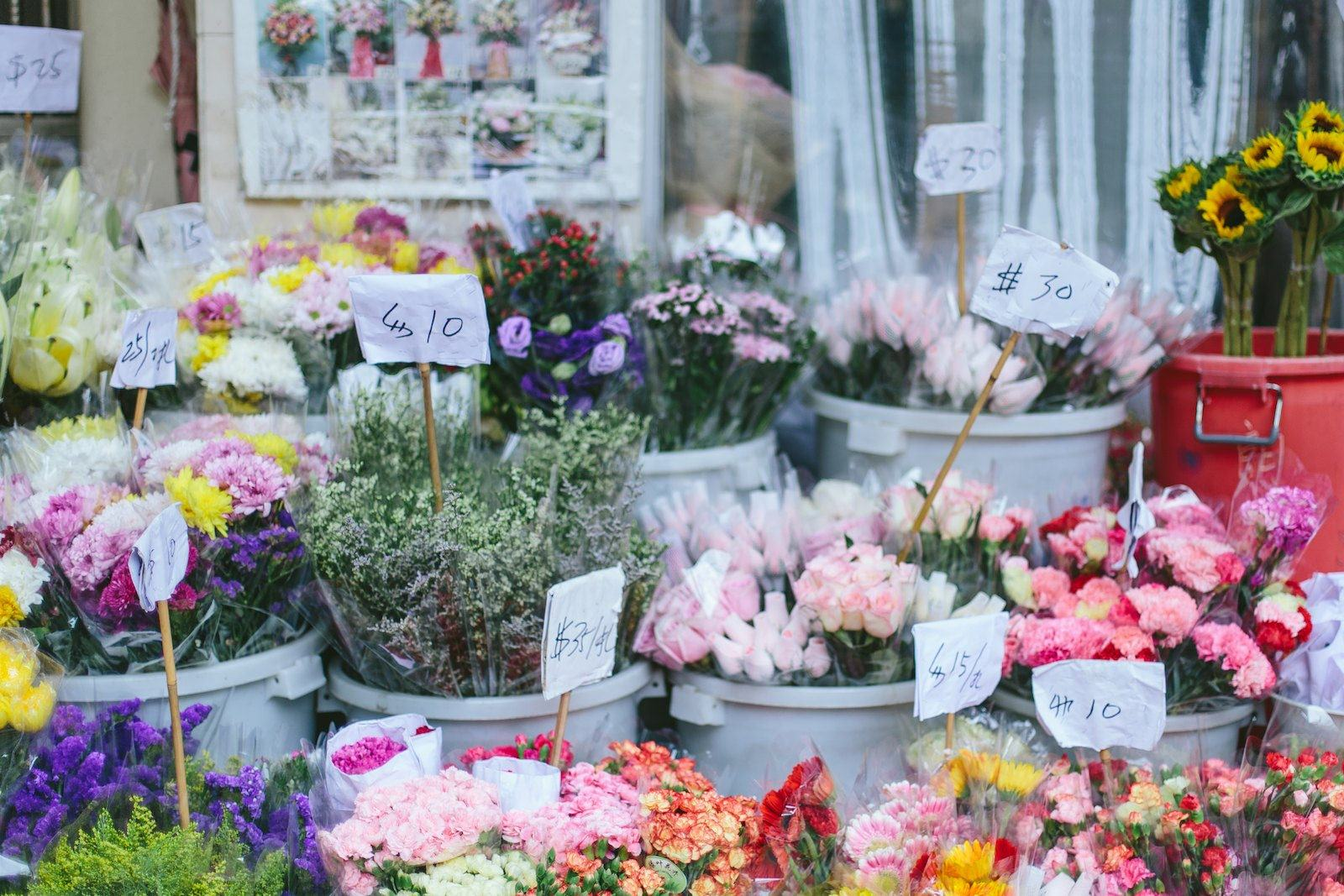Flower stalls at Flower Market Road
