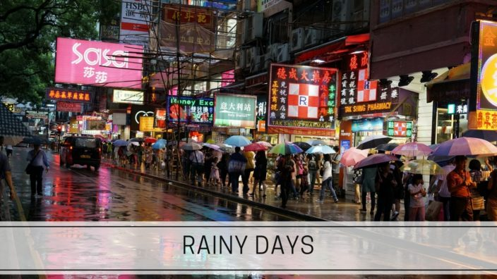 a rainy day on a Hong Kong street