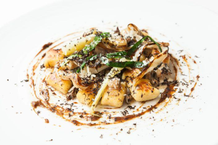 Arcane Hong Kong potato gnocchi with caramelised leek, cep vinaigrette and shiitake duxelle