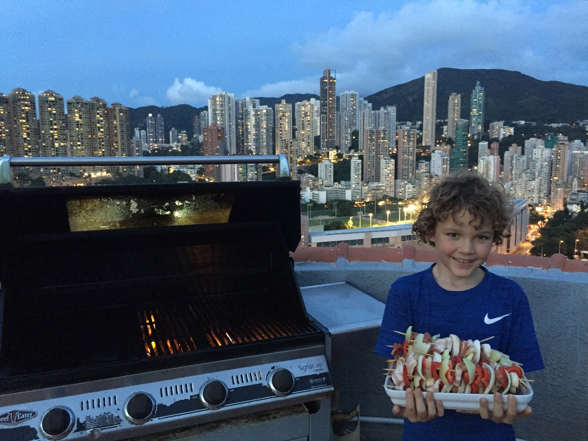 boy with bbq in Hong Kong