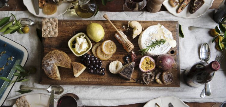 french table with food and cheese