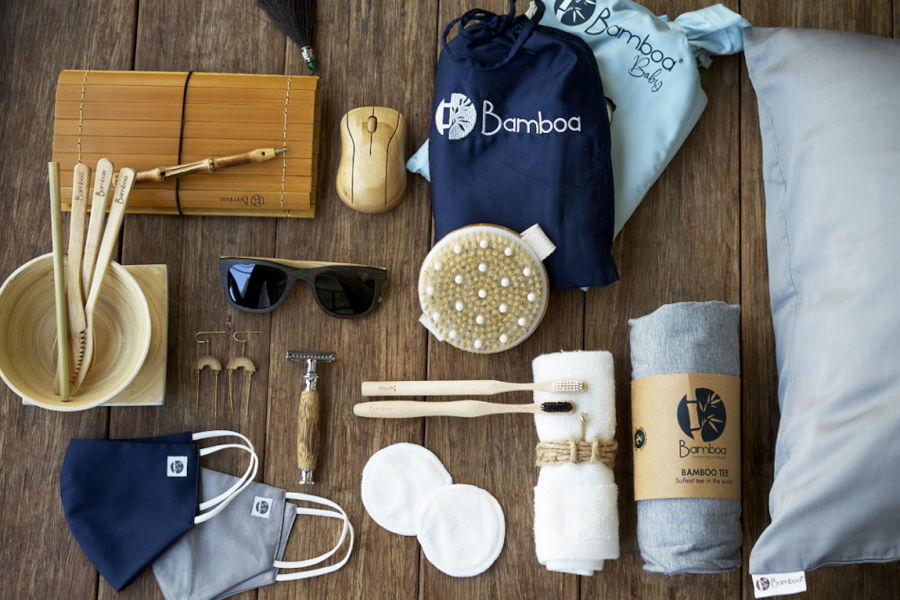 bambo home product range with sunglasses, toothbrush, cotton pads, masks