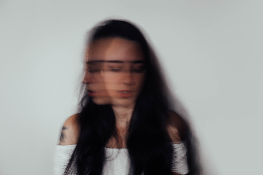 woman shaking her head dramatic blurry effect