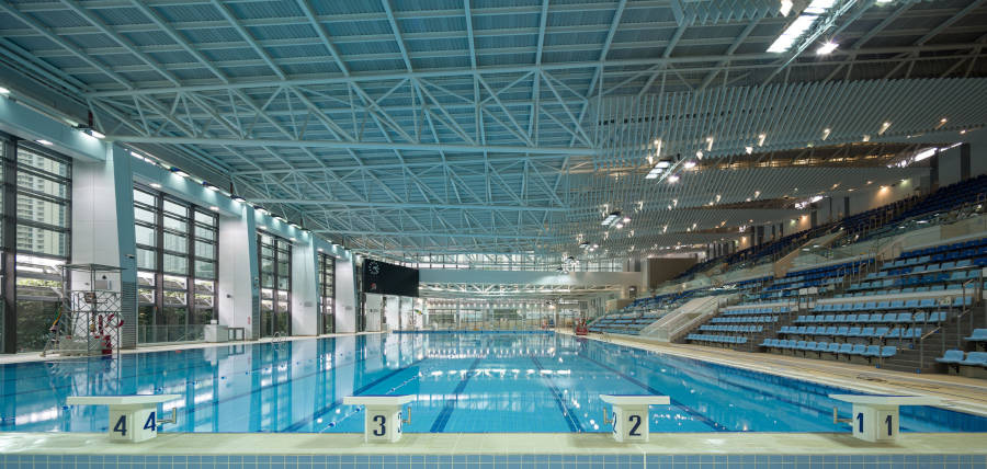 view of entire indoor kwun tong swimming pool